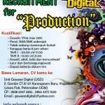 Lowongan staf Production UGD (Unit Gawean Digital)